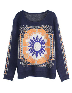 /ja/retro-sunflower-baroque-pattern-jumper-sweater-blue-p-4868.html