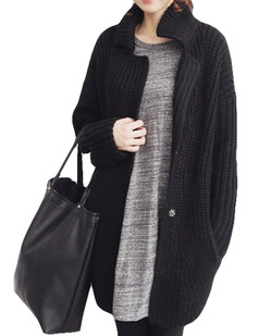 /black-chunky-knit-loose-cocoon-coat-p-5454.html