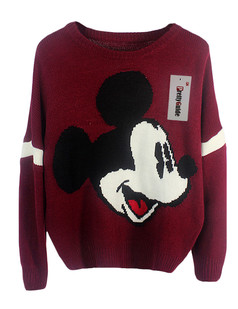 /cartoon-mickey-print-knit-sweater-burgundy-p-5936.html