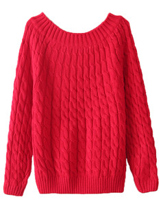 /red-crew-neck-loose-cable-knit-sweate-p-5592.html