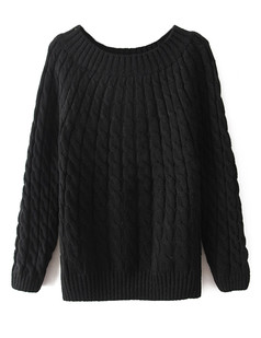 /black-crew-neck-loose-cable-knit-sweate-p-5596.html