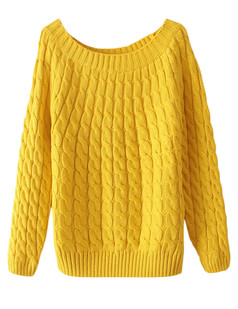 /yellow-crew-neck-loose-cable-knit-sweate-p-5594.html