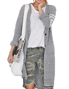 /es/grey-v-neck-stripe-long-cardigan-sweater-p-5340.html