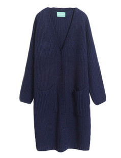 /ru/blue-v-neck-pockets-knitted-long-cardigan-p-5578.html