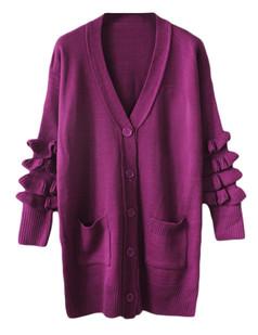 /ru/purple-frill-sleeves-long-cardigan-sweater-coat-p-5538.html