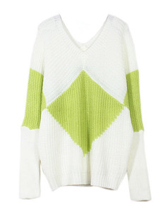 /v-neck-batwing-geometric-diamond-pattern-pullover-p-5698.html