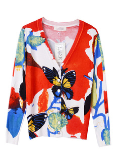 /es/women-v-neck-butterfly-print-cardigan-sweater-knitwear-p-764.html