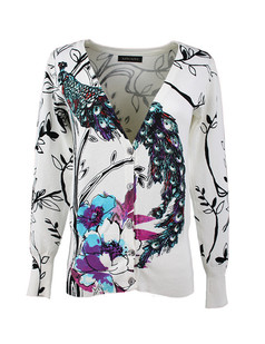 /ru/women-v-neck-peacock-print-cardigan-sweater-knitwear-p-1473.html
