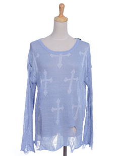 /light-blue-cross-print-distressed-frayed-knit-sweater-p-1085.html