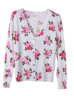 /fr/women-v-neck-floral-print-cardigan-sweater-knitwear-pure-cotton-p-763.html