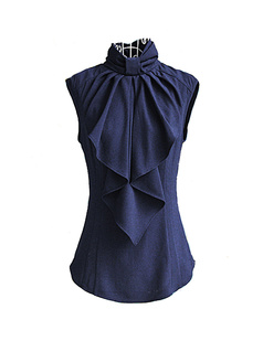 /lady-standup-big-bow-collar-sleeveless-blouse-tops-p-979.html