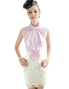 /lady-standup-big-bow-collar-sleeveless-blouse-tops-p-983.html