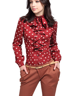 /polka-dot-standup-collar-blouse-long-sleeve-top-red-p-2868.html