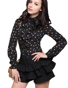 /polka-dot-standup-collar-blouse-long-sleeve-top-black-p-2856.html
