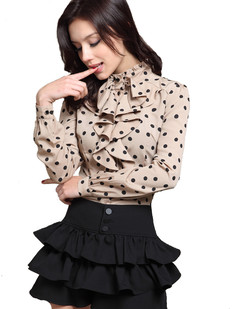 /polka-dot-standup-collar-blouse-long-sleeve-top-beige-p-2878.html