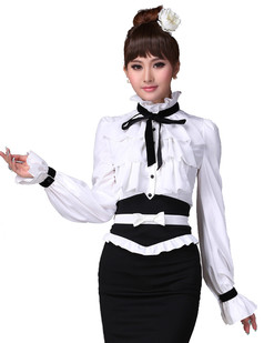 /ru/women-standup-collar-ruffle-black-bow-front-tops-blouse-p-2692.html