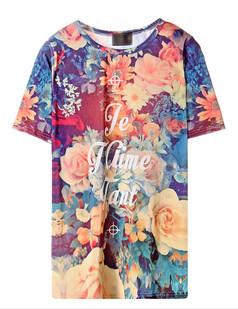 /women-vintage-foral-printed-short-sleeve-velvet-tshirt-p-1537.html