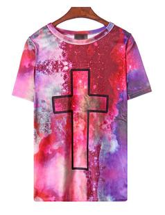 /tiedye-religion-cross-printed-short-sleeve-velvet-tshirt-p-1543.html