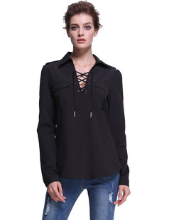 /v-neck-lace-up-modern-essential-pockets-front-blouse-black-p-7398.html
