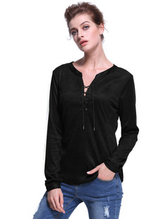 /lace-up-faux-suede-long-sleeve-shirt-blouse-black-p-7408.html
