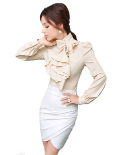 /standup-collar-office-irregular-ruffle-multilayers-blouse-p-817.html
