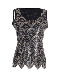 /black-sequin-seashell-pattern-embellished-sleeveless-top-p-1872.html