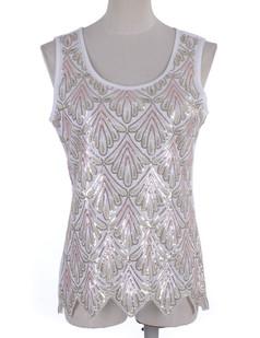 /white-sequin-seashell-pattern-embellished-sleeveless-top-p-1874.html