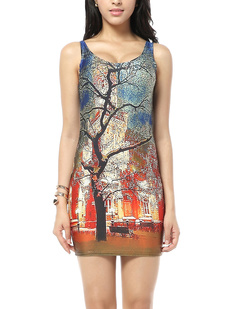 /big-tree-building-oil-painting-slimming-bodycon-stretch-vest-short-dress-pencil-dress-p-316.html