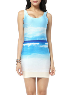 /nature-blue-sky-clouds-print-sleeveless-dress-p-333.html