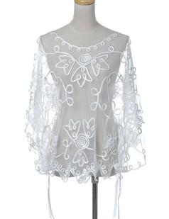 /white-swirling-golden-flower-sheer-batwing-blouse-p-1626.html