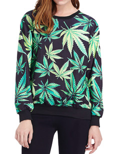 /green-weed-maple-leaf-print-sweatshirts-p-343.html